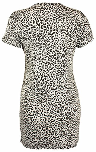 Damen Neu Leopard Batik Schädel Buchstaben Gedruckten Muster Damen Kurzarm U-ausschnitt Stretch langes T-Shirt oben Übergröße Leoparden Druck