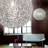 MIA Light Draht Kugel Hänge Leuchte Ø500mm/ Modern/Silber/ Alu/Pendel Lampe Geflecht Perlen Hängelampe Hängeleuchte Pendellampe Pendelleuchte