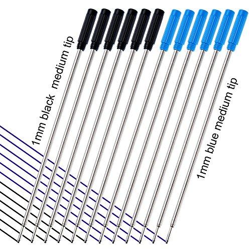 4,5 Zoll 12 Stücke Kugelschreiber Minen Austauschbare Glatte Schreiben Kugelschreiber Minen mit Schwarzem Samt, Schwarz und Blau