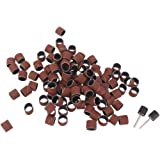 """Imported 100pcs 1/2"""" Sanding Drum Sleeves with 2 Rubber Mandrel Bands Set Rotary Tool"""