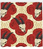 Best Animal World Mooses - tgyew Gothic Shower Curtain, Goat Skull on Red Review