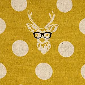 echino laminate fabric Buck stag deer with glasses yellow (per 0.5m multiple)