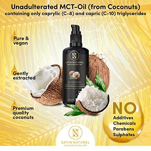 Aceite de coco fraccionado / Aceite MCT de cocos 200 ml de SatinNaturel   OFERTA DE LANZAMIENTO / SIEMPRE LÍQUIDO / La mayor calidad en un frasco de vidrio con protección lumínica   Aceite en sérum para una piel  rostro  pelo y uñas bonitos