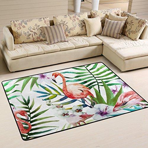 ingbags Rainforest Leaf flores flamencos salón comedor alfombra 3x 2pies cama habitación alfombra oficina alfombra moderno piso alfombra alfombras decoración del hogar, multicolor, 6 x 4 Feet