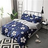 Zhiyuan funda nórdica funda de almohada y sábana en azul oscuro con flor de sakura, Cama de 90cm