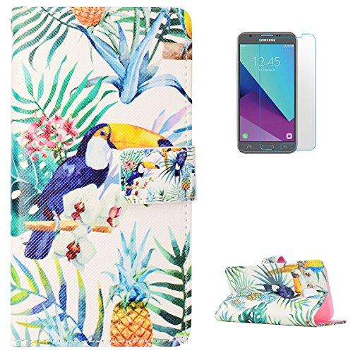 (KaseHom Case for(Samsung Galaxy J3 2017) Fall [Frei Schirm Schutz] Premium Slim Lederschale Nette Karikatur(Ananas Vogel) Entwurf mit Kartensteckplatz Magnetischer Mappen Abdeckung)