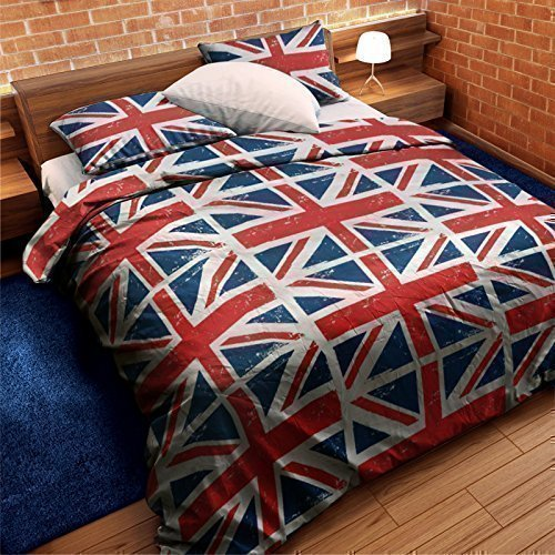Union Jack rouge blanc bleu double mélange de Coton DRAPEAU couette consolateur HOUSSE DE COUETTE