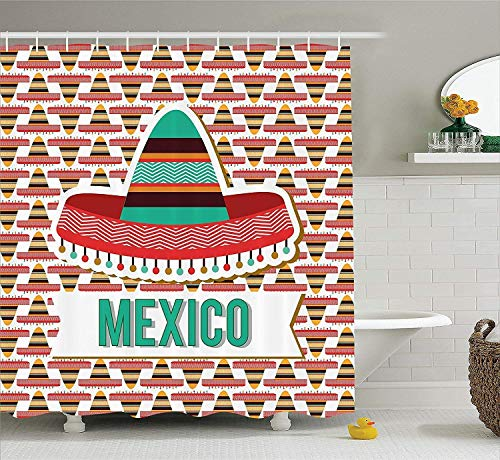 Mexican Decorations Collection, Mexico Design Cultural Ethnic Hat Costume Tradition Patriotism Emblem Pattern, Polyester Fabric Bathroom Shower Curtain Set with Hooks, Mint Cream Red (Hut Hooks Kapitän)