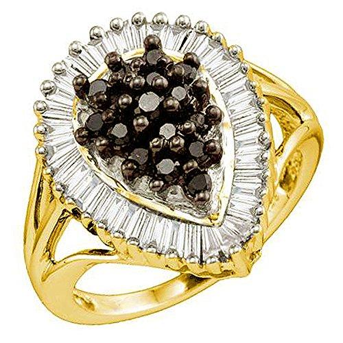 Engagement Gelbe Ringe (1,03Karat (ctw) 18K Gelb Vergoldet Sterling Silber Schwarz und Weiß Diamant Rechte Hand Cluster Ring)