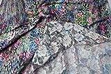 Fabrics-City WEIß/BUNT STRETCH ROSEN-SPITZE DIGITALDRUCK