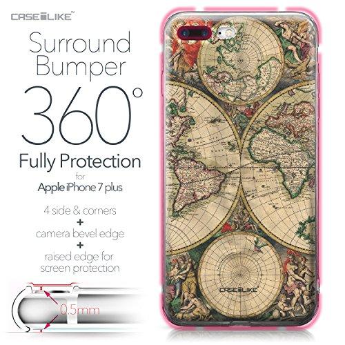 CASEiLIKE iPhone 7 Hülle, iPhone 7 TPU Schutzhülle Tasche Case Cover, Comic Beschriftung 2914, Kratzfest Weich Flexibel Silikon für Apple iPhone 7 Weltkarte Weinlese 4607