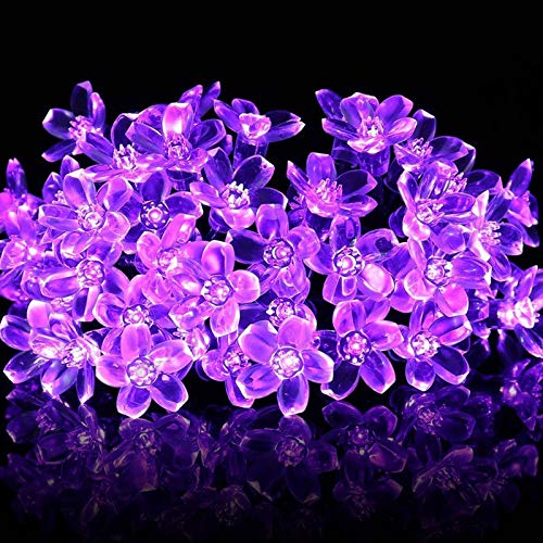 (Prevently 50LED LED String Lichter Solarenergie Pfirsichblüte Lichterkette Außenbeleuchtung für Garten, Party, Hochzeit, Weihnachten (Lila))