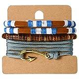 JewelryWe Pulseras de Gancho Marino Marinero, Pulsera Azul Náutico Tejido Cuero Cuerda Trenzado, 3 Piezas Pulseras Tribales para Hombre Mujer, Adorno de Verano