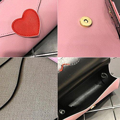 Damen Tasche,Huihong Art Und WeisemäDchen PU-Lederner Liebesform Handtasche Crossbody Eleganter Schulterbeutel Kuriertelefon MüNzenbeutel Rosa