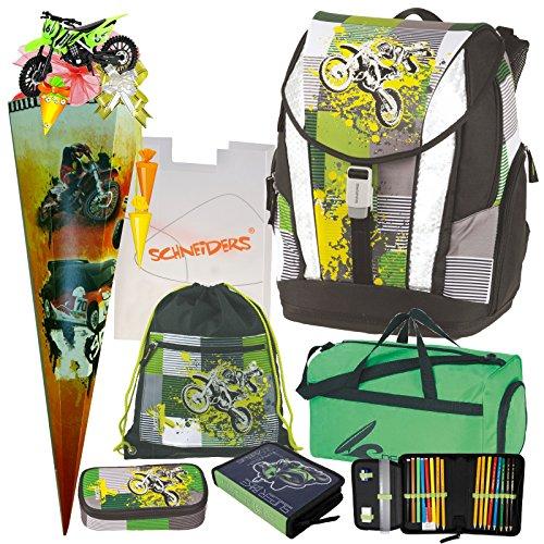 Moto X - Motocross Cross Motorrad Crossrider Motobike - TOOLBAG Soft Schulranzen Set 7tlg. Schneiders mit FEDERMAPPE, Sporttasche, SCHULTÜTE und SCHULTÜTENSCHMUCK-Set