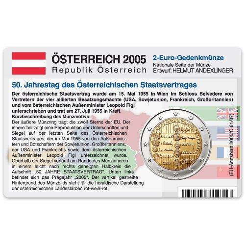 Münzkarte (ohne Münze) für 2-Euro Gedenkmünze Österreich 2005 - 50 Jahre Staatsvertrag
