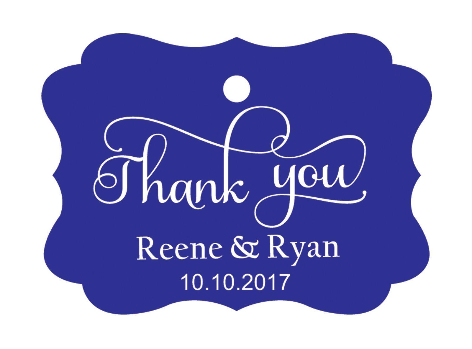 100pcs Thank You custom made cartellini personalizzato matrimonio carta regalo Tag Blue