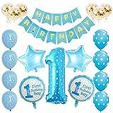 Toupons 1. Geburtstag Dekorationen für Jungen, blau Happy Birthday Banner Latex und Folie Ballons Set