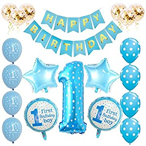 Toupons 1 ° Compleanno Decorazioni per Neonato, Blue Happy Birthday Banner Kit di palloncini in lattice e alluminio