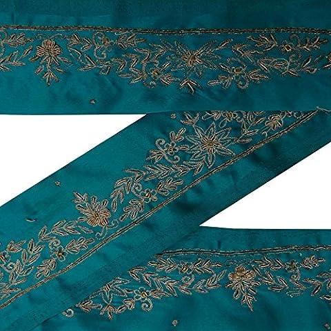 Jahrgang indische Hand wulstige Gebrauchte Sari Border Blue Ribbon Sewing 1YD Spitzenbesatz (Spitzenbesatz Craft)
