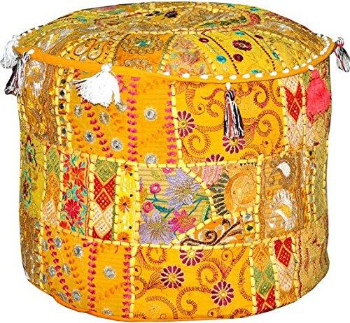 Aakriti Gallery - Funda redonda para puf con bordado indio étnico, al