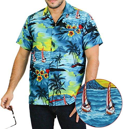 LA-LEELA-Shirt-camisa-hawaiana-Hombre-XS-5XL-Manga-corta-Delante-de-bolsillo-Impresin-hawaiana-casual-Regular-Fit-Camisa-de-Hawaii-Azul-Del-Trullo-538-S