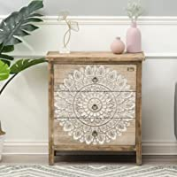 JAE Wooden Carved Chest of Drawer Cabinet   Wooden Storage Furniture for Home   Antique White and Brown Finish