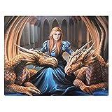 Loyal Company–Fantastische Drachen Design von Künstlerin Anne Stokes–Fantasy Leinwand Bild auf Rahmen Wand Tafel/Wand Kunst