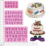 Kuchen dekorieren Buchstaben, Alphabet Zahl Schablonen Geburtstag Hochzeit Dekorationen Form und Backen Silikonform für Handwerk, 3Pcs