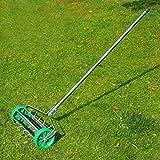 Aérateur de gazon/pelouse pour jardin à rouler poignée télescopique tube galvanisé robuste 135L x 42lcm vert neuf 22