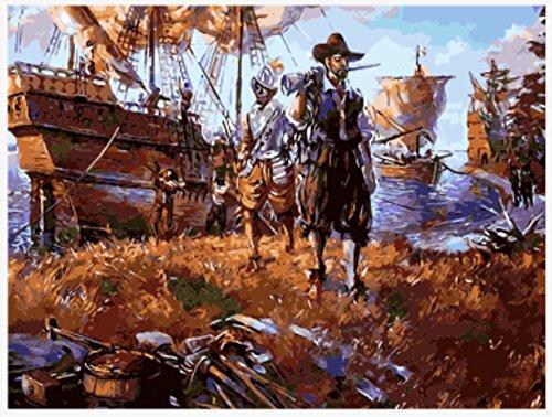 OBELLA Malen nach Zahlen Kits || Piraten-Segelboot Rückkehr Pirat Segelboot gibt 50 x 40 cm || Malen nach Zahlen, DIGITAL Ölgemälde (Mit (Pirat Sexy Frau)