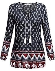 BAISHENGGT - Femme T-Shirt Bohême Imprimé Tunique Stretch Col V avec Cordons