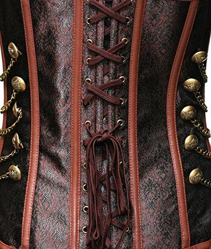 BSLINGERIE® Gothic Damen Weinlese Steampunk Corsagentop Bustier Korsett Top Corsage Braun