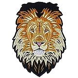 EMDOMO Löwen-Stickerei zum Aufbügeln auf der Rückseite, Bestickte Applikation, Reparatur-Abzeichen für Kleidung, Sticker, Nähzubehör, 1 Stück