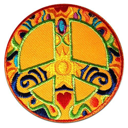 Aufnäher / Bügelbild - Peace Frieden gelb Ø7,5 cmPatch Aufbügler Applikationen zum aufbügeln Applikation Patches Flicken
