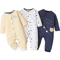Baby Pagliaccetti Confezione da 3 Maniche Lunghe Ragazzi Ragazze Tutina di Cotone per Neonati Abiti 0-3 Mesi