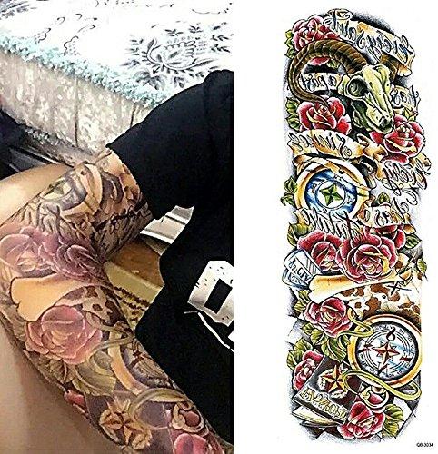 Roses Skull Clocks Large Tattoo Temporar Buy Online In Guernsey At Desertcart