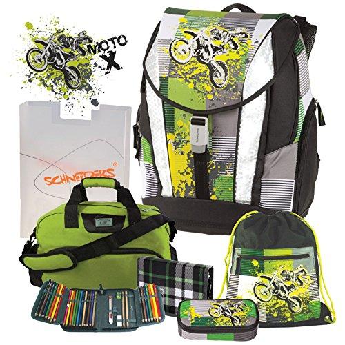 Preisvergleich Produktbild Moto X Motocross Cross Motorrad Crossrider Motobike Schulranzen Set 6tlg. Schneiders mit passender SPORTTASCHE und FEDERMAPPE