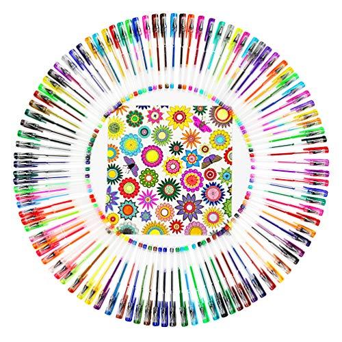 WoMoxe Gelstifte Set mit Etui, Gelstift, ideal zum Zeichnen, Malen, Schreiben, Scrapbooking, nützlicher Bastel-Maker - Set enthält Glitzer, Metallic, Wirbel und Neon, glatte feine Spitze
