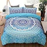 Morbuy Bettbezug-Set, Bohemian Boho Bettwäsche Sets Soft Polyester Microfaser Zipper Kissenbezug Bettwäsche Set Duvet Cover Set (150*210 cm, Blau)