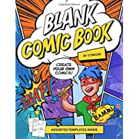 Blank Comic Book + Comic Art Tutorials - Create your own comics | Made In USA | Gifts for Kids & Teens: Lessons on How to Draw Comics Included | A Large Sketchbook with Lots of Fun & Unique Templates