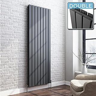 iBathUK | 1800 x 608 Vertical Column Designer Radiator Anthracite Double Flat Panel