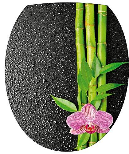 StickersNews-Pegatina wc,-adhesivo decorativo para tapa de inodoro Flor Bambú