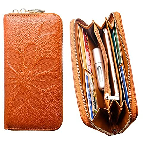 CellularOutfitter Leather Clutch/Wallet Case - Embossed Flower Design w/ Multiple Card Slots and Compartments - Camel