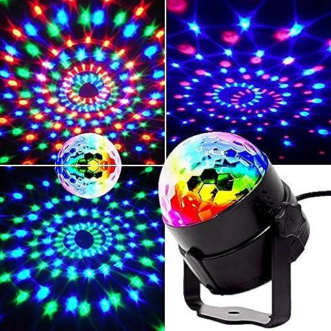 Mini Lumières de scène, EJBOTH Mini lampe magique RGB effet de scène LED tournante lampe boule de Fête Lumière LED cristal pendentif balise lumineuse + Remote Control Atmosphere Ball for Disco KTV Bar Club Christmas DJ Magic Ball