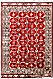 CarpetFine: Pakistan Buchara 2ply Teppich 190x278 Rot - Handgeknüpft - Ornament