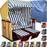 XINRO - XY-12 - Garten Strandkorb inkl. Luxus Strankorb Schutzhülle & 4x Kissen, Blau-gestreift mit natur Rattan und braunem Holz, Form: Nordsee