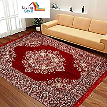 """Laying Style Velvet Touch Abstract Chenille Carpet - 84"""" x 60"""", Maroon"""