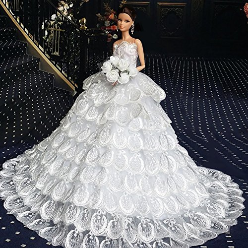 Time4Deals® Bella moda Handmade Wedding Party Dress abiti abito bianco coda lunga abito da sera per Barbie bambole