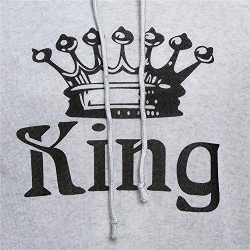 Tomwell King Queen Pullover Coppia Manica Lunga Felpe Oro Cotone Corona Stampa Sweatshirt Donna Uomo Lovers Shirt con Tasche D-Queen Grigio Chiaro
